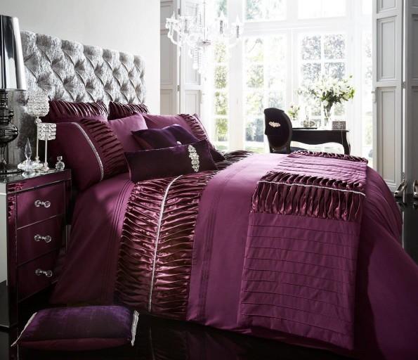 Luxury bed linen duvet quilt cover pillowcase set alina purple - Bedlinnen aubergine ...