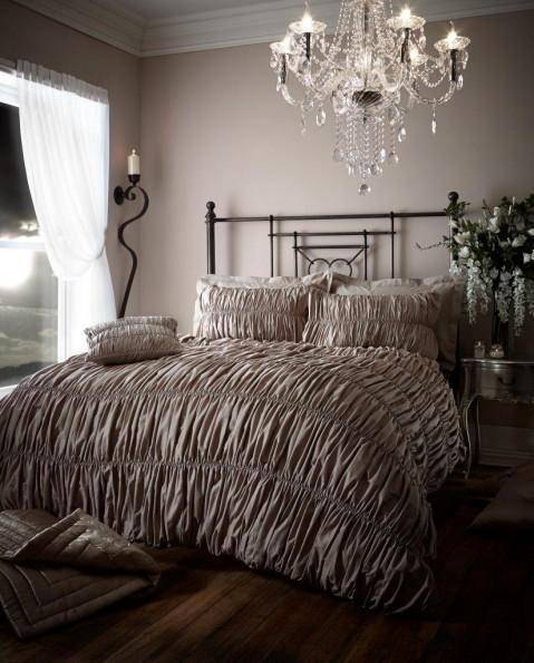 Luxury Bed Linen Elastic Crinkle Duvet Quilt Cover Pillowcase Set Beauford Oyster