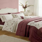 Luxurious Caitlyn Plum Duvet Quilt Cover Set, Bedspread & Curtains