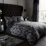 Duvet Cover with Pillow Case, Quilt Cover, Bedding Set- Empire Damask - Black