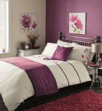 Bed in a Bag 5pc Bedding Duvet Quilt Cover Set, Estella-Cream Aubergine