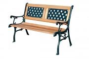 Wood & Cast Iron Garden 2 Seater Bench- Lattice Design