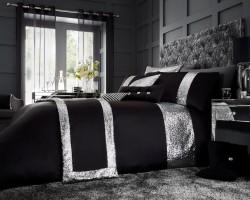 Luxury Bed Linen Duvet / Quilt Cover & Pillowcase Set- Glamorous Black