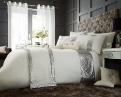 Luxury Bed Linen Duvet / Quilt Cover & Pillowcase Set- Glamorous Cream