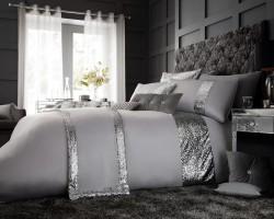Luxury Bed Linen Duvet / Quilt Cover & Pillowcase Set- Glamorous Silver