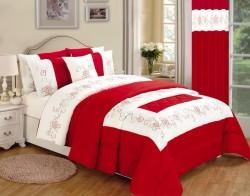 Karina 4pcs Embroidered Complete Duvet Set - Red