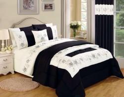 Karina 4pcs Embroidered Complete Duvet Set - Black