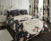 Luxury Bed Linen Duvet / Quilt Cover & Pillowcase Set-Iola Black