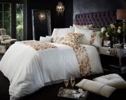 Luxury Bed Linen Duvet / Quilt Cover & Pillowcase Set- Katie Cream Gold