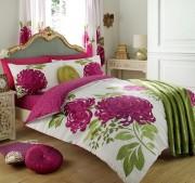 Duvet Cover with Pillow Case, Quilt Cover, Bedding Set-Kew White Fuchsia