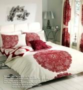 Duvet Cover with Pillow Case, Quilt Cover, Bedding Set-Manhattan Cream Red
