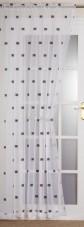 "Milan Slot Top, Rod Pocket, Net Curtain Voile Panel, 55"" Wide, White/Black- PAIR"