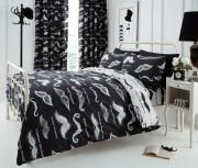 Duvet Cover with Pillow Case, Quilt Cover, Bedding Set- Moustache Black