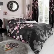 Duvet Cover with Pillow Case, Quilt Cover, Bedding Set- Roseanne - Black