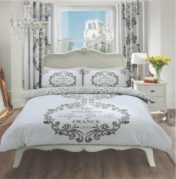 Duvet Cover with Pillow Case, Quilt Cover, Bedding Set- Paris Silver : paris quilt cover set - Adamdwight.com