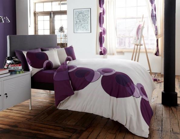 Duvet Cover With Pillow Case Quilt Bedding Set Solo Cream Purple