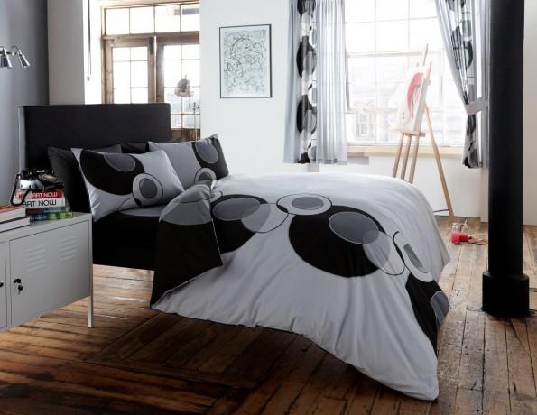 Duvet Cover With Pillow Case Quilt Bedding Set Solo Grey Black