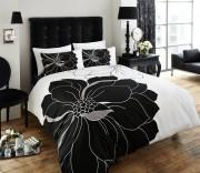 Luxury Bed Linen Duvet / Quilt Cover & Pillowcase Set- Vibrance - Black