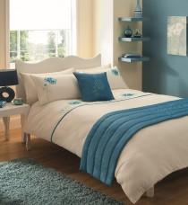 Bed in a Bag 5pc Bedding Duvet Quilt Cover Set, Vogue-Cream Teal