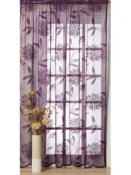 Bridget Ready Made Net Curtain Voile Panel Slot Top,Aubergine ...