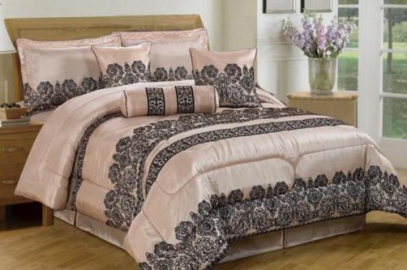 luxurious 7pcs quilted bed spread set comforter set elizabeth cream brown