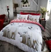 Flannel Duvet Set Polar Bear- Red