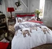 Flannel Duvet Set Snow Reindeer- Red