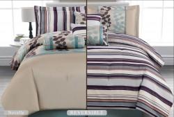 Luxurious 7pcs Reversible Quilted Bed Spread Set/ Comforter Set, Novella- Cream Purple