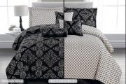Luxurious 7pcs Reversible Quilted Bed Spread Set/ Comforter Set, Splendour-Black