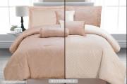 Luxurious 7pcs Reversible Quilted Bed Spread Set/ Comforter Set, Splendour-Cream